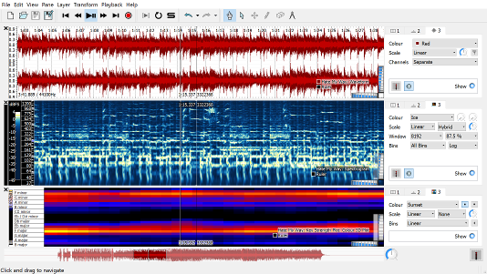 Sonic Visualiser is an application for viewing and analysing the contents of music audio files.